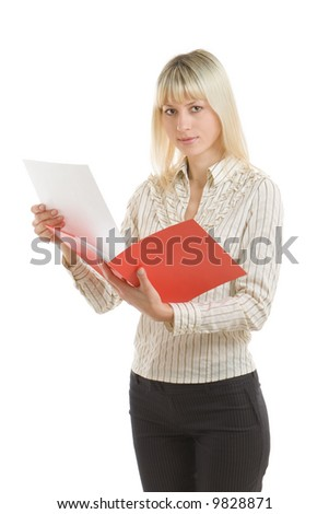 Businesswoman gets out a white sheet from red folder