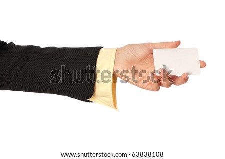 businesswoman giving her business card to the partners - stock photo