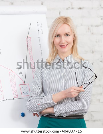 Businesswoman giving presentation to colleagues using whiteboard in office. Happy blonde in business suit looking at camera.