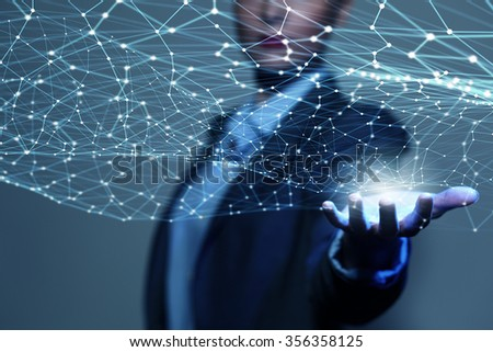 Businesswoman hand demonstrating digital connection lines in palm