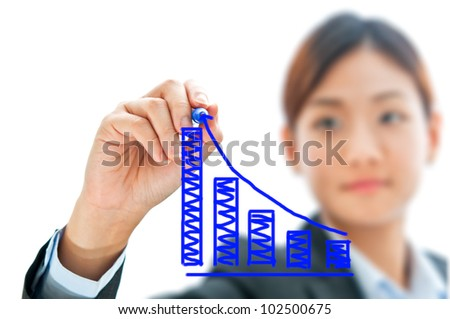 Businesswoman hand drawing chart isolated on white background - stock photo