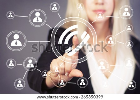 Businesswoman hand press telephone button sign - stock photo