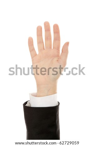 Businesswoman hand up - vote, isolated on white - stock photo