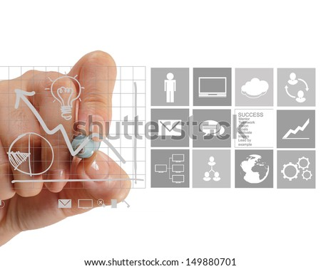 businesswoman hand working with new modern computer and business strategy as concept - stock photo