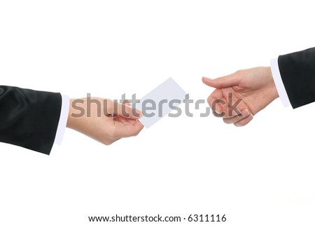 Businesswoman handing out her business card stock photo royalty businesswoman handing out her business card to a businesswoman colourmoves