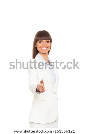 businesswoman handshake, hold hand welcome gesture, young excited business woman happy smile isolated over white background - stock photo