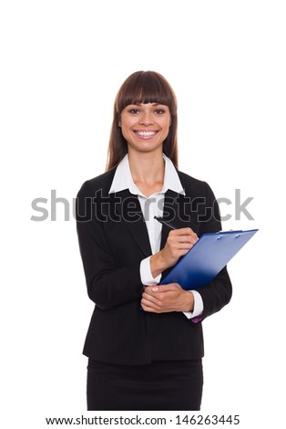businesswoman happy smile writing on clipboard sign up contract, business woman isolated over white background - stock photo