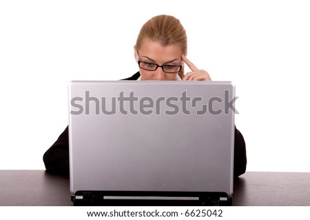 Businesswoman have problem with laptop. - stock photo