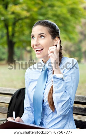 businesswoman having idea, just  remember, outdoor - stock photo