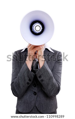 Businesswoman hiding face behind  the  megaphone against a white background