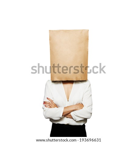businesswoman hiding under paper bag. isolated on white background - stock photo