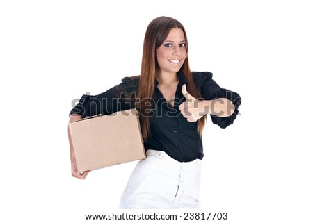 Businesswoman hold package ready for shipment. - stock photo