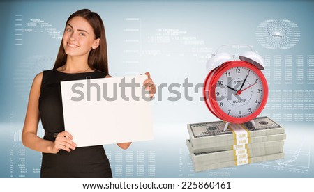 Businesswoman hold paper sheet. Alarm clock stand on dollar packs. Graphs, arrows and world map as backdrop