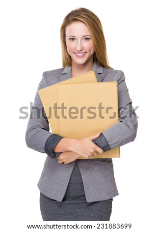 Businesswoman hold with folders - stock photo