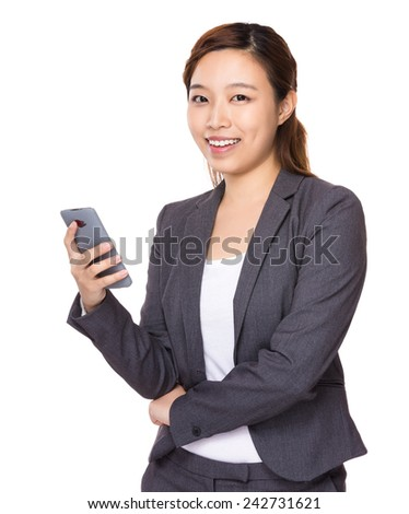 Businesswoman hold with phone