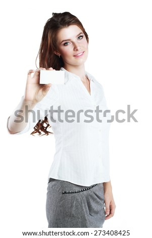 Businesswoman holding a blank card isolated on white - stock photo