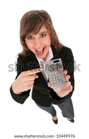 Businesswoman Holding a Calculator - stock photo