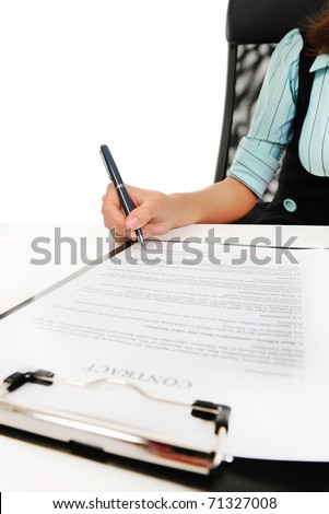 Businesswoman holding a clipboard signs contract. Isolated on white background - stock photo