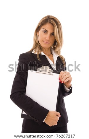 businesswoman holding a clipboard with space for text - stock photo
