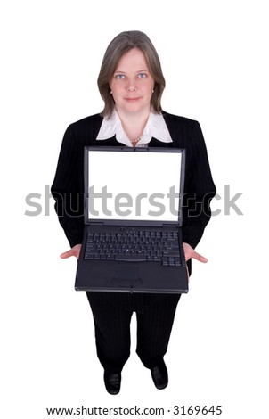 Businesswoman holding a laptop isolated over white with a clipping path - stock photo