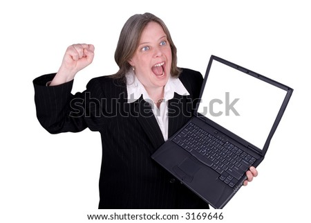 Businesswoman holding a laptop with a funny expression isolated over white with a clipping path - stock photo