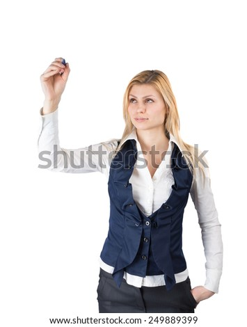 Businesswoman holding a pen to write something - isolated - stock photo