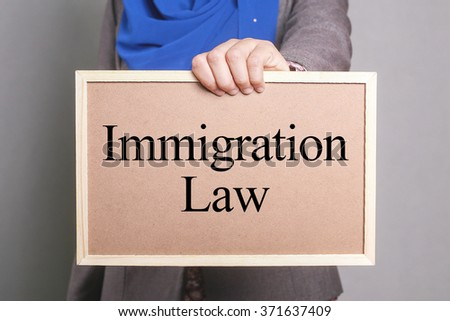 Businesswoman holding a softboard written Immigration Law - stock photo