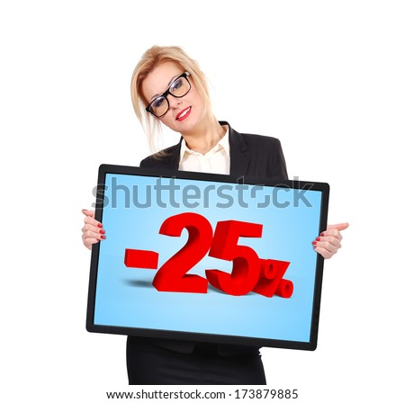 businesswoman holding big blank touch pad with discount - stock photo