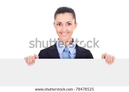 businesswoman holding billboard sign smiling friendly, young beautiful woman behind blank white billboard, isolated on white background - stock photo