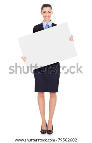 businesswoman holding blank billboard, isolated on white background in full length - stock photo