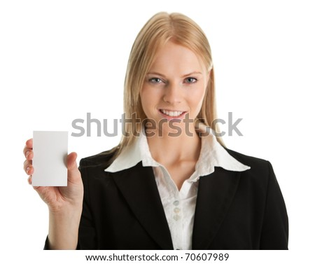 Businesswoman holding blank card. Isolated on white