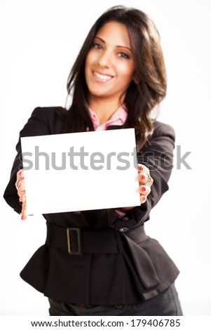 Businesswoman holding Blank card. Selective focus. Focus on blank card.
