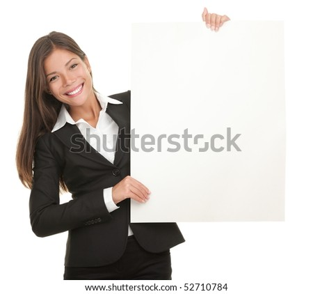 Businesswoman holding blank whiteboard sign. Casual business woman in suit is holding blank billboard placard and showing its empty copy-space. Isolated on white background. - stock photo