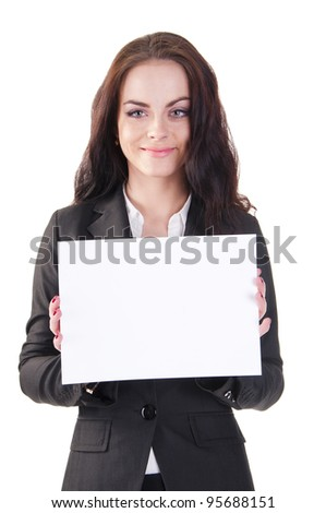 Businesswoman holding blank whiteboard sign. Casual business woman in suit is holding blank billboard placard and showing its empty copy-space. Isolated on white background