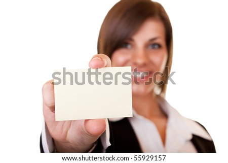 businesswoman holding business card on white background