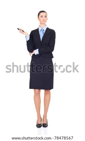 businesswoman holding cellphone and expecting call, isolated on white - stock photo