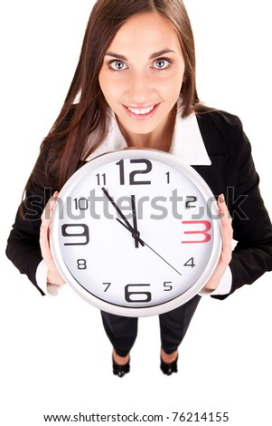 businesswoman holding clock in hands, isolated on white - stock photo