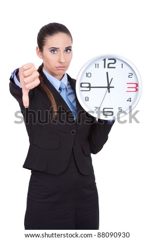businesswoman holding clock, too late concept