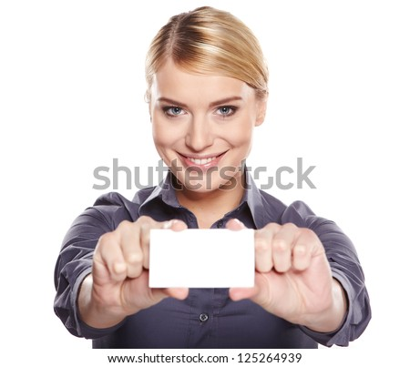 Businesswoman holding credit card. Isolated on white - stock photo