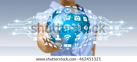Businesswoman holding digital web earth with modern icons '3D rendering'