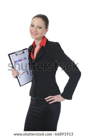 businesswoman holding documents. Isolated on white background