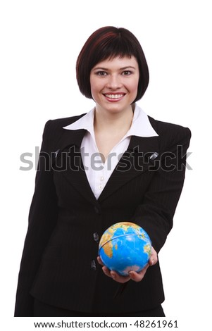 Businesswoman holding Earth globe  in a hand, isolated on white.  Attractive business woman holding a miniature globe. I'll give you the World.