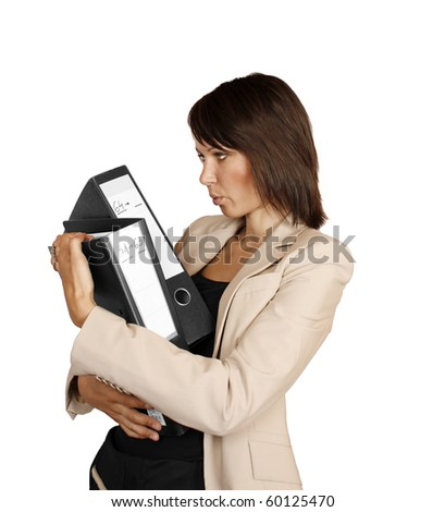 Businesswoman holding files - stock photo