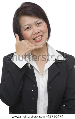 Businesswoman holding her hand for telephone call