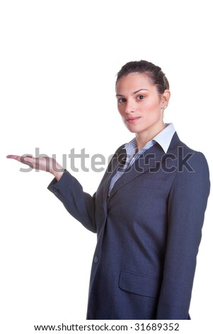 Businesswoman holding her hand out, suitable for product placement, isolated on a white background. - stock photo