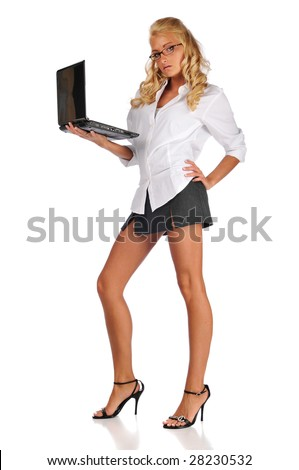 Businesswoman holding her laptop isolated against a white background - stock photo
