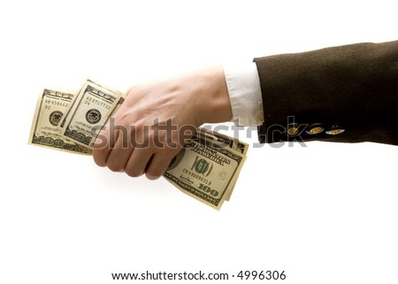 Businesswoman holding hundred dollar bills