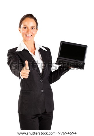 businesswoman holding laptop and giving thumb up