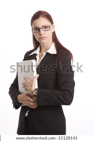 Businesswoman holding laptop computer and looking unhappy - stock photo