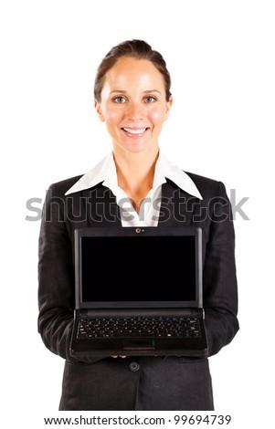 businesswoman holding laptop on white - stock photo